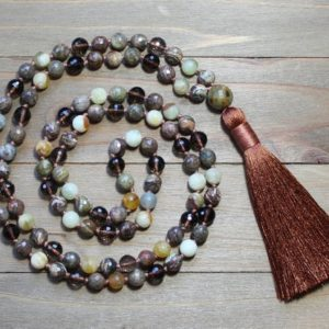 Shop Smoky Quartz Necklaces! Smoky Quartz Mala, Mala Bead Necklace, Smoky Quartz Mala Necklace, Smoky Quartz, Meditation Gifts, Gift For Yoga Lovers, Long Boho Necklace | Natural genuine Smoky Quartz necklaces. Buy crystal jewelry, handmade handcrafted artisan jewelry for women.  Unique handmade gift ideas. #jewelry #beadednecklaces #beadedjewelry #gift #shopping #handmadejewelry #fashion #style #product #necklaces #affiliate #ad