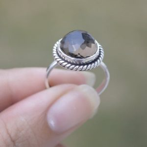 Shop Smoky Quartz Rings! Natural Smoky Quartz ring,Smoky Ring,Solid 925 Sterling Silver Ring,Handmade Jewelry,April Birthstone ring,Statment ring,Smoky Quartz Ring | Natural genuine Smoky Quartz rings, simple unique handcrafted gemstone rings. #rings #jewelry #shopping #gift #handmade #fashion #style #affiliate #ad