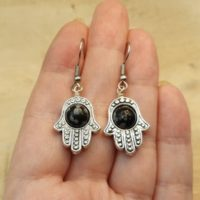 Snowflake Obsidian Hamsa Earrings. Reiki Jewelry Uk. Virgo Jewelry. Silver Plated 8mm Stone Dangle Drop Earrings. Protection Luck Symbol   Natural genuine Gemstone jewelry. Buy crystal jewelry, handmade handcrafted artisan jewelry for women.  Unique handmade gift ideas. #jewelry #beadedjewelry #beadedjewelry #gift #shopping #handmadejewelry #fashion #style #product #jewelry #affiliate #ad