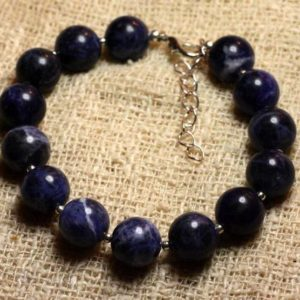 Shop Sodalite Bracelets! Bracelet 925 sterling silver and stone – Sodalite 10mm | Natural genuine Sodalite bracelets. Buy crystal jewelry, handmade handcrafted artisan jewelry for women.  Unique handmade gift ideas. #jewelry #beadedbracelets #beadedjewelry #gift #shopping #handmadejewelry #fashion #style #product #bracelets #affiliate #ad