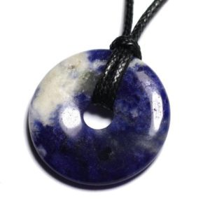 Shop Sodalite Pendants! Necklace pendant gemstone – Sodalite Donut Pi 30mm | Natural genuine Sodalite pendants. Buy crystal jewelry, handmade handcrafted artisan jewelry for women.  Unique handmade gift ideas. #jewelry #beadedpendants #beadedjewelry #gift #shopping #handmadejewelry #fashion #style #product #pendants #affiliate #ad