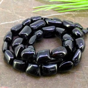 Shop Spinel Chip & Nugget Beads! Natural Black Spinel 8-17.5mm Smooth Nuggets Shape Gemstone Beads / Approx. 40 Pieces on 19 Inch Long Strand / JBC-ET-157179 | Natural genuine chip Spinel beads for beading and jewelry making.  #jewelry #beads #beadedjewelry #diyjewelry #jewelrymaking #beadstore #beading #affiliate #ad