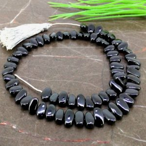 Shop Spinel Chip & Nugget Beads! Natural Black Spinel 10-12mm Smooth Slice Shape Gemstone Beads / Approx. 67 Pieces on 16 Inch Long Strand / JBC-ET-157304 | Natural genuine chip Spinel beads for beading and jewelry making.  #jewelry #beads #beadedjewelry #diyjewelry #jewelrymaking #beadstore #beading #affiliate #ad
