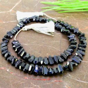 Shop Spinel Chip & Nugget Beads! Natural Black Spinel 9-11mm Step Cut Nuggets Shape Gemstone Beads / Approx. 79 Pieces On 17 Inch Long Strand / Jbc-et-157181 | Natural genuine chip Spinel beads for beading and jewelry making.  #jewelry #beads #beadedjewelry #diyjewelry #jewelrymaking #beadstore #beading #affiliate #ad