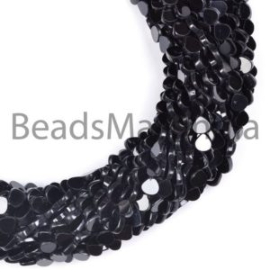 Shop Spinel Bead Shapes! Black Spinel Smooth Plain Heart Shape Gemstone Beads, Flat Heart, Black Spinel Gemstone Beads, Black Spinel Beads, Black Spinel 6-7MM | Natural genuine other-shape Spinel beads for beading and jewelry making.  #jewelry #beads #beadedjewelry #diyjewelry #jewelrymaking #beadstore #beading #affiliate #ad
