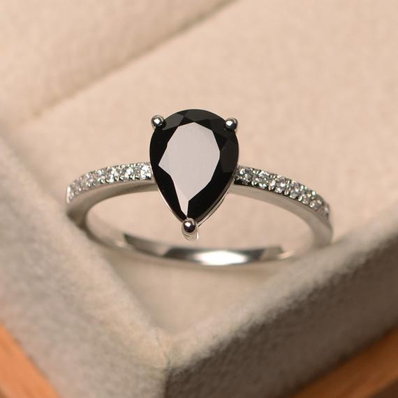 Black Spinel Ring, Pear Cut Gemstone Ring, Sterling Silver,  Engagement Ring