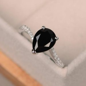 Black ring, pear shaped ring, black spinel ring, engagement ring silver, black gemstone ring | Natural genuine Spinel rings, simple unique alternative gemstone engagement rings. #rings #jewelry #bridal #wedding #jewelryaccessories #engagementrings #weddingideas #affiliate #ad