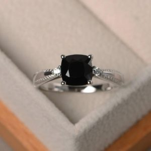 Unique engagement rings, natural black spinel cushion cut rings, black gemstone, solid silver ring | Natural genuine Gemstone rings, simple unique alternative gemstone engagement rings. #rings #jewelry #bridal #wedding #jewelryaccessories #engagementrings #weddingideas #affiliate #ad