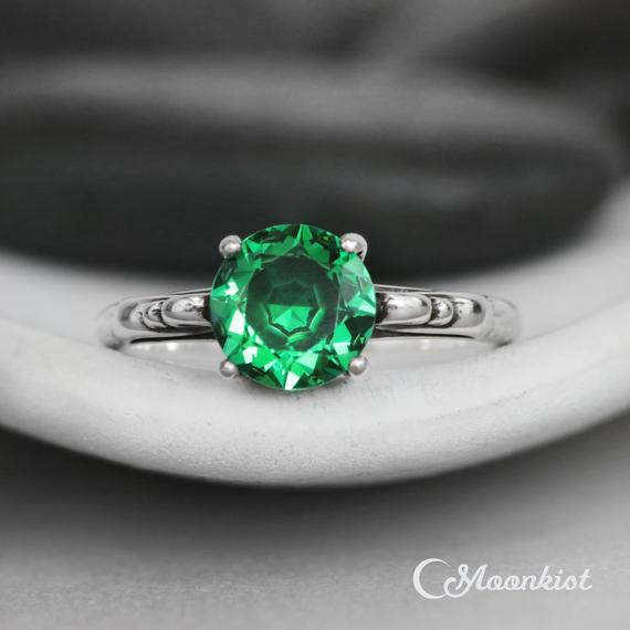 Vintage Style Large Stone Engagement Ring For Women, Sterling Silver Green Spinel Ring, May Birthstone Ring | Moonkist Designs