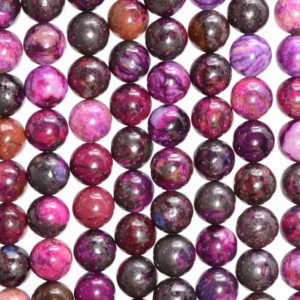 Shop Sugilite Beads! 6MM Sugilite Gemstone Treated Round Beads 15.5 inch Full Strand Bulk Lot 1,2,6,12 and 50 (80007232-A249) | Natural genuine round Sugilite beads for beading and jewelry making.  #jewelry #beads #beadedjewelry #diyjewelry #jewelrymaking #beadstore #beading #affiliate #ad