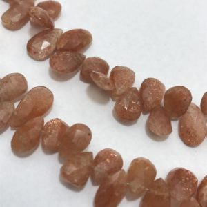 Shop Sunstone Faceted Beads! Sunstone Faceted Briolette Pears 10 to 15 mm Gemstone Beads Strand Sale / Wholesale Beads / Sunstone Faceted Beads Wholesale / Briolette | Natural genuine faceted Sunstone beads for beading and jewelry making.  #jewelry #beads #beadedjewelry #diyjewelry #jewelrymaking #beadstore #beading #affiliate #ad