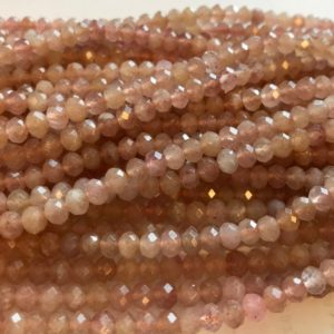 "Shop Sunstone Faceted Beads! Natural Sunstone 4x3mm  6x4mm Faceted Rondelle Gemstone Beads–15.5""–1 strand/3 strands 
