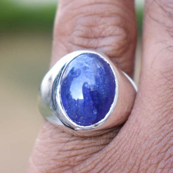 Handmade Jewelry Tanzanite Ring,solid 925 Sterling Silver Men's Ring,tanzanite Blue Gemstone Ring,natural Birthstone Ring,unique Gift