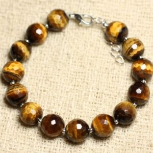 Shop Men's Tiger Eye Bracelets! Bracelet 925 sterling silver and stone – Tiger eye 10mm faceted balls | Natural genuine Tiger Eye bracelets. Buy crystal jewelry, handmade handcrafted artisan jewelry for women.  Unique handmade gift ideas. #jewelry #beadedbracelets #beadedjewelry #gift #shopping #handmadejewelry #fashion #style #product #bracelets #affiliate #ad