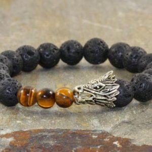 Mens Dragon Stack, Tiger Eye + Black Volcanic Lava, Healing Chakra Stones, Yogi Gift, Yoga Bracelet Stack, Gift for Him, Root Chakra Jewelry | Natural genuine Tiger Eye bracelets. Buy handcrafted artisan men's jewelry, gifts for men.  Unique handmade mens fashion accessories. #jewelry #beadedbracelets #beadedjewelry #shopping #gift #handmadejewelry #bracelets #affiliate #ad