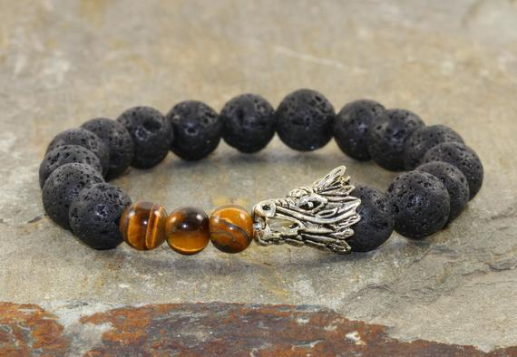 Mens Dragon Stack, Tiger Eye + Black Volcanic Lava, Healing Chakra Stones, Yogi Gift, Yoga Bracelet Stack, Gift For Him, Root Chakra Jewelry