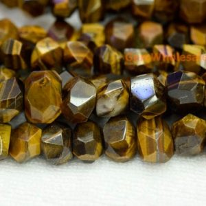 "Shop Tiger Eye Chip & Nugget Beads! 15.5"" Natural yellow tiger eye faceted nugget 15~20mm, high quality yellow color gemstone nugget beads, tiger eye DIY beads 