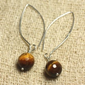 Shop Tiger Eye Earrings! Sterling Silver 925 hooks 40mm – 10mm faceted Tiger eye earrings | Natural genuine Tiger Eye earrings. Buy crystal jewelry, handmade handcrafted artisan jewelry for women.  Unique handmade gift ideas. #jewelry #beadedearrings #beadedjewelry #gift #shopping #handmadejewelry #fashion #style #product #earrings #affiliate #ad