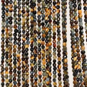 Shop Tiger Eye Faceted Beads! 3mm Blue Tiger Eye Hawk Eye Gemstone Faceted Round Loose Beads 15.5 inch Full Strand (90184535-3mm) | Natural genuine faceted Tiger Eye beads for beading and jewelry making.  #jewelry #beads #beadedjewelry #diyjewelry #jewelrymaking #beadstore #beading #affiliate #ad