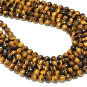 "Shop Tiger Eye Faceted Beads! Gemstone beads,tiger eye beads,round faceted beads,semiprecious beads,faceted gemstone beads,natural beads, AA Quality – 16"" Strand 