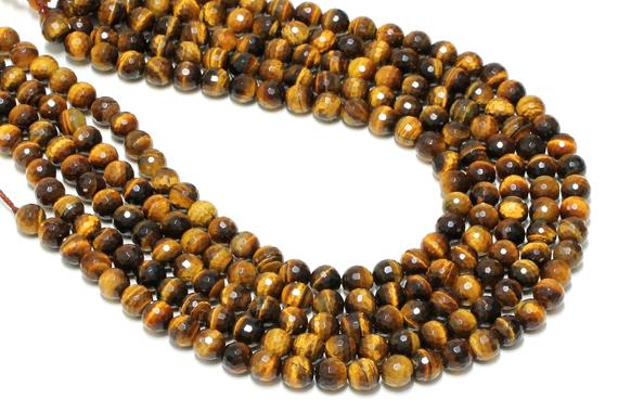 "Gemstone Beads, Tiger Eye Beads, Round Faceted Beads, Semiprecious Beads, Faceted Gemstone Beads, Natural Beads, Aa Quality - 16"" Strand"