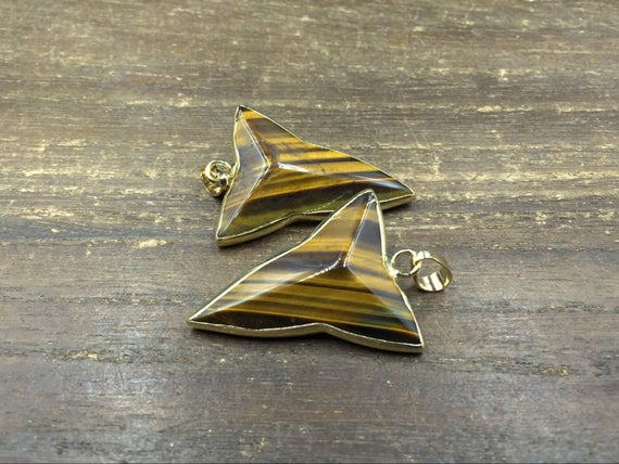 Faceted Tiger Eye Pendant Triangle Pendant Triangle Tiger Stone Pendant Gold Plated Gemstone Pendant Wholesale Pendant 3-10pieces
