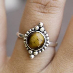 Shop Tiger Eye Rings! Beautiful Tiger Eye Ring,Tiger Eye Ring,Solid 925 Sterling Silver Ring,Handmade Jewelry,July Birthstone Ring,Brown Gemstone,Gift for her   Natural genuine Tiger Eye rings, simple unique handcrafted gemstone rings. #rings #jewelry #shopping #gift #handmade #fashion #style #affiliate #ad