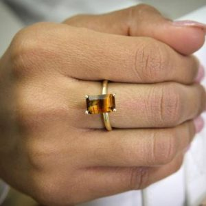 Shop Tiger Eye Jewelry! gold rectangle ring,tiger eye ring,rectangular rings,gold rings,gemstone rings,natural stone ring,prong ring | Natural genuine Tiger Eye jewelry. Buy crystal jewelry, handmade handcrafted artisan jewelry for women.  Unique handmade gift ideas. #jewelry #beadedjewelry #beadedjewelry #gift #shopping #handmadejewelry #fashion #style #product #jewelry #affiliate #ad