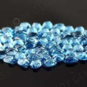 Shop Topaz Cabochons! Swiss Blue Topaz Rose Cut Oval Cabochon 7x5mm – per stone | Natural genuine stones & crystals in various shapes & sizes. Buy raw cut, tumbled, or polished gemstones for making jewelry or crystal healing energy vibration raising reiki stones. #crystals #gemstones #crystalhealing #crystalsandgemstones #energyhealing #affiliate #ad