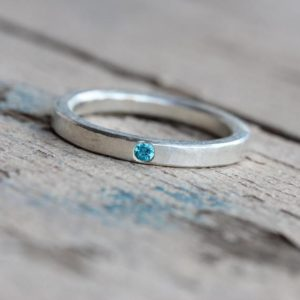 Delicate Silver Paraiba Colored Topaz Wedding Ring Hammered Texture Blue Narrow Subtle Modern Rustic Bridal Band Small Gem – Electric Dab | Natural genuine Gemstone jewelry. Buy handcrafted artisan wedding jewelry.  Unique handmade bridal jewelry gift ideas. #jewelry #beadedjewelry #gift #crystaljewelry #shopping #handmadejewelry #wedding #bridal #jewelry #affiliate #ad