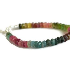 Shop Tourmaline Bracelets! Multicolour Tourmaline Bracelet, October Birthstone, Multicolor Gemstone Jewelry, Sterling Silver, Gift For Her | Natural genuine Tourmaline bracelets. Buy crystal jewelry, handmade handcrafted artisan jewelry for women.  Unique handmade gift ideas. #jewelry #beadedbracelets #beadedjewelry #gift #shopping #handmadejewelry #fashion #style #product #bracelets #affiliate #ad