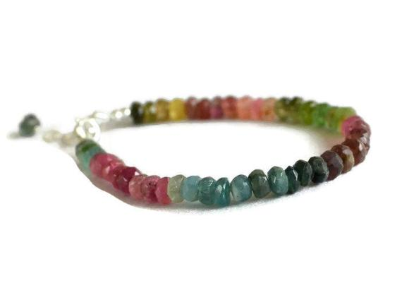 Multicolour Tourmaline Bracelet, October Birthstone, Multicolor Gemstone Jewelry, Sterling Silver, Gift For Her