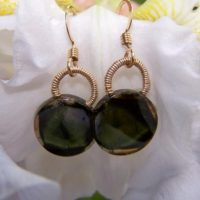Tourmaline Coin,  Liddicoatite Tourmaline, 14k Goldfilled Hook Earwire, earrings | Natural genuine Gemstone jewelry. Buy crystal jewelry, handmade handcrafted artisan jewelry for women.  Unique handmade gift ideas. #jewelry #beadedjewelry #beadedjewelry #gift #shopping #handmadejewelry #fashion #style #product #jewelry #affiliate #ad