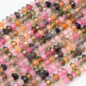 Shop Tourmaline Faceted Beads! Genuine Natural Multicolor Tourmaline Loose Beads Grade AAA Faceted Rondelle Shape 2×1.5mm | Natural genuine faceted Tourmaline beads for beading and jewelry making.  #jewelry #beads #beadedjewelry #diyjewelry #jewelrymaking #beadstore #beading #affiliate #ad
