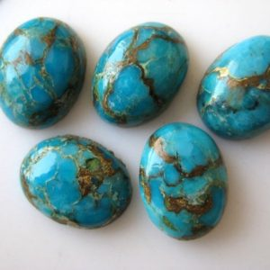 Shop Turquoise Stones & Crystals! 5 Pieces Oval Shaped Blue Copper Turquoise Cabochons, Copper Turquoise Smooth Flat Back Gemstones Cabochon, 12x16mm Each, Bb188 | Natural genuine stones & crystals in various shapes & sizes. Buy raw cut, tumbled, or polished gemstones for making jewelry or crystal healing energy vibration raising reiki stones. #crystals #gemstones #crystalhealing #crystalsandgemstones #energyhealing #affiliate #ad