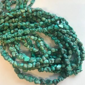 """Shop Turquoise Chip & Nugget Beads! 100% Natural Turquoise 3-11mm Nugget Gemstone Beads -15.5""""–1 strand/3 strands–#73 