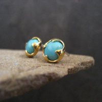 Turquoise Studs, American Turquoise, Blue Gemstone, Genuine Turquoise, Turquoise Posts, Gold Studs, 7 Mm | Natural genuine Gemstone jewelry. Buy crystal jewelry, handmade handcrafted artisan jewelry for women.  Unique handmade gift ideas. #jewelry #beadedjewelry #beadedjewelry #gift #shopping #handmadejewelry #fashion #style #product #jewelry #affiliate #ad