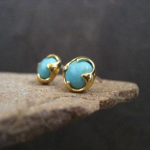 Shop Turquoise Earrings! Turquoise studs, American turquoise, blue gemstone, genuine turquoise, turquoise posts, gold studs, 7 mm | Natural genuine Turquoise earrings. Buy crystal jewelry, handmade handcrafted artisan jewelry for women.  Unique handmade gift ideas. #jewelry #beadedearrings #beadedjewelry #gift #shopping #handmadejewelry #fashion #style #product #earrings #affiliate #ad