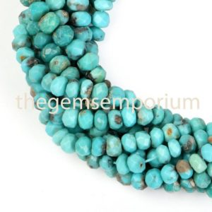 Shop Turquoise Faceted Beads! Natural Arizona Turquoise Faceted Rondelle Shape Beads,Turquoise Faceted Rondelle Beads,Turquoise Beads,Turquoise Rondelle,Wholesale Beads | Natural genuine faceted Turquoise beads for beading and jewelry making.  #jewelry #beads #beadedjewelry #diyjewelry #jewelrymaking #beadstore #beading #affiliate #ad