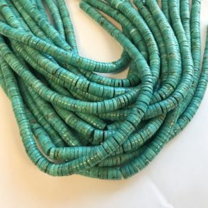 """Shop Turquoise Bead Shapes! natural turquoise 8x3mm heshi gemstone beads–15.5""""–1 strand/3 strands 