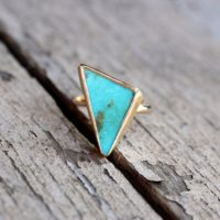Tribal Triangle Turquoise Statement Ring Luxurious 22k And 14k Yellow Gold Silver Modern Boho Blue Green Zen Geometric Southwest – Tri-bal | Natural genuine Gemstone jewelry. Buy crystal jewelry, handmade handcrafted artisan jewelry for women.  Unique handmade gift ideas. #jewelry #beadedjewelry #beadedjewelry #gift #shopping #handmadejewelry #fashion #style #product #jewelry #affiliate #ad