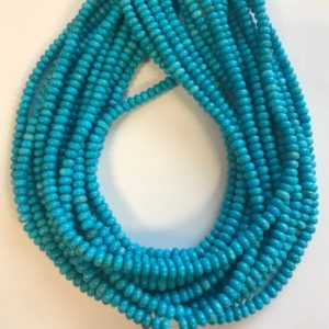 "Shop Turquoise Rondelle Beads! 100% Natural Turquoise 4x2mm Rondelle Gemstone Beads -15.5""–1 Strand / 3 Strands–#77 