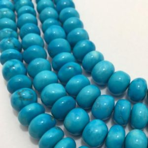 "Shop Turquoise Rondelle Beads! 225 Carats Turquoise Smooth Rondelle 11 to 13 mm 9""/Gemstone Beads/Semi Precious Beads/Turquoise Beads/Wholesale Beads 