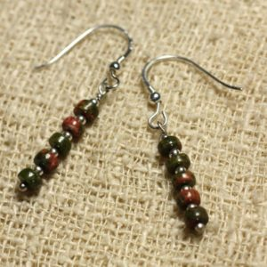 Shop Unakite Earrings! Earrings 925 Silver – Unakite Rondelle 4x2mm | Natural genuine Unakite earrings. Buy crystal jewelry, handmade handcrafted artisan jewelry for women.  Unique handmade gift ideas. #jewelry #beadedearrings #beadedjewelry #gift #shopping #handmadejewelry #fashion #style #product #earrings #affiliate #ad