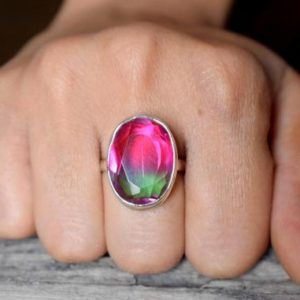 Shop Watermelon Tourmaline Rings! US SIZE 9 – Watermelon Tourmaline ring , Faceted Tourmaline signet ring , 925 sterling silver, Tourmaline gemstone #B151 | Natural genuine Watermelon Tourmaline rings, simple unique handcrafted gemstone rings. #rings #jewelry #shopping #gift #handmade #fashion #style #affiliate #ad