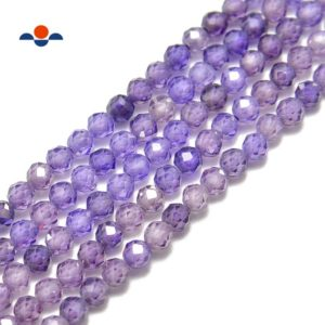 Shop Zircon Beads! Purple Zircon CZ Faceted Round Beads 2mm 3mm 4mm 15.5'' Strand | Natural genuine faceted Zircon beads for beading and jewelry making.  #jewelry #beads #beadedjewelry #diyjewelry #jewelrymaking #beadstore #beading #affiliate #ad