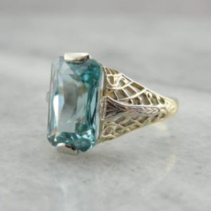 Shop Zircon Rings! Blue Zircon Cocktail Ring in Two Tone Gold Filigree Setting 6M7DCV-R   Natural genuine Zircon rings, simple unique handcrafted gemstone rings. #rings #jewelry #shopping #gift #handmade #fashion #style #affiliate #ad