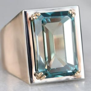 Shop Zircon Rings! Blue Zircon Statement Ring, Mixed Metal Zircon Ring, Men's Zircon Ring, Birthstone Ring, Right Hand Ring LUCXDQY6   Natural genuine Zircon rings, simple unique handcrafted gemstone rings. #rings #jewelry #shopping #gift #handmade #fashion #style #affiliate #ad