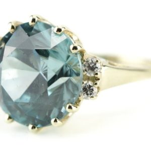 Shop Zircon Rings! Blue Zircon Statement Ring, The Morgan Ring by Elizabeth Henry, December Birthstone  YZJ2RL-P   Natural genuine Zircon rings, simple unique handcrafted gemstone rings. #rings #jewelry #shopping #gift #handmade #fashion #style #affiliate #ad