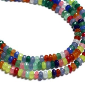 Shop Jade Rondelle Beads! 30pc – beads – Jade faceted Rondelle 4x2mm – multicolor 8741140001022 | Natural genuine rondelle Jade beads for beading and jewelry making.  #jewelry #beads #beadedjewelry #diyjewelry #jewelrymaking #beadstore #beading #affiliate #ad